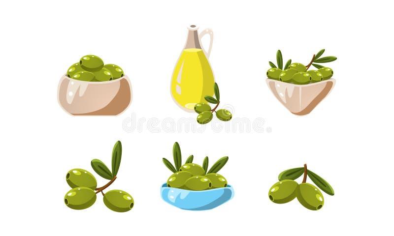 Groene olijven en oliereeks, gezonde biologisch product vectorillustratie op een witte achtergrond vector illustratie