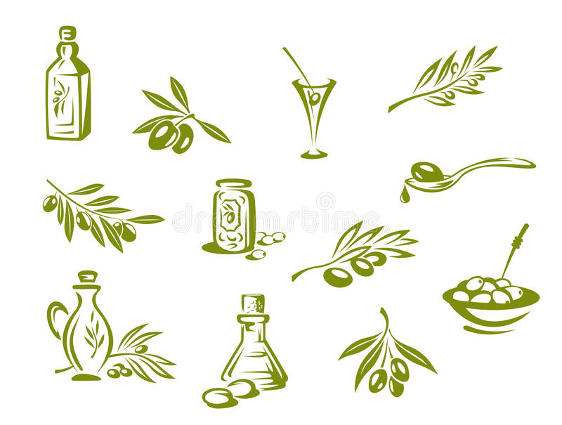 Groene olijven en organische olie royalty-vrije illustratie