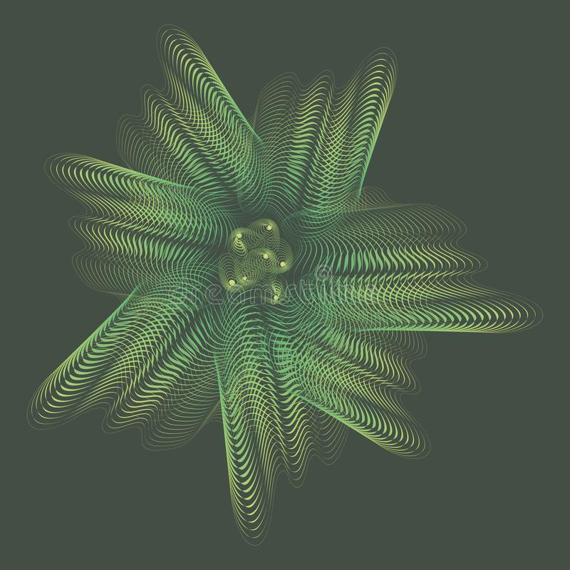 Groene onderwater lineaire doorzichtige spookachtige iriserende bloem stock illustratie