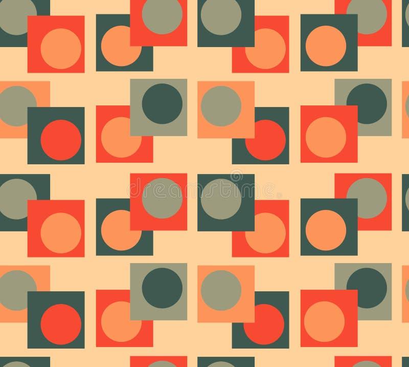 Groene oranje Meetkunde naadloze achtergrond royalty-vrije stock afbeeldingen