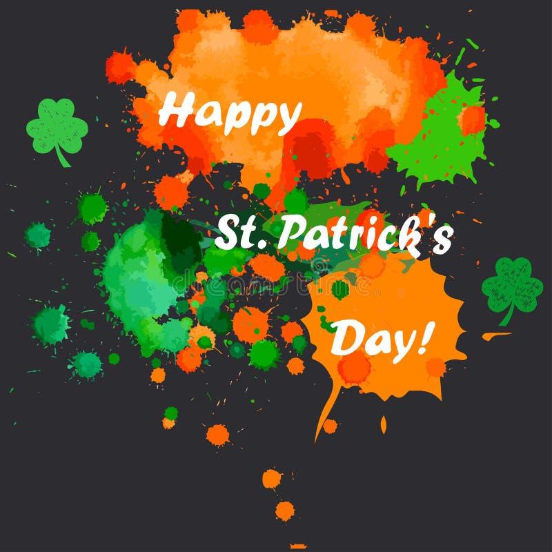 Groene, oranje vlekken, patricks dag royalty-vrije illustratie