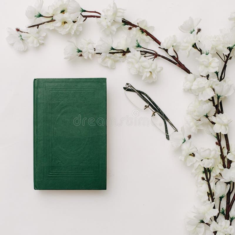 Groene oude boek, glazen en sakuratak op witte achtergrond royalty-vrije stock afbeelding