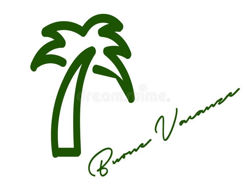 Groene Palm met een motto vector illustratie