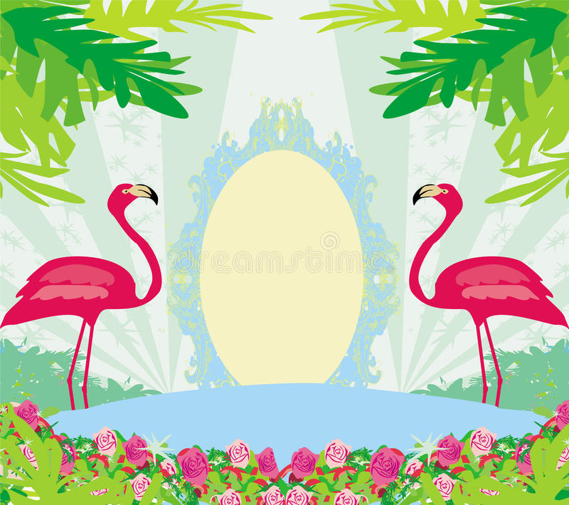 groene palmen en roze flamingo vector illustratie. Black Bedroom Furniture Sets. Home Design Ideas