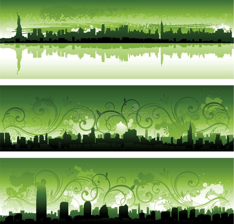 Groene panoramas van de Stad van New York vector illustratie