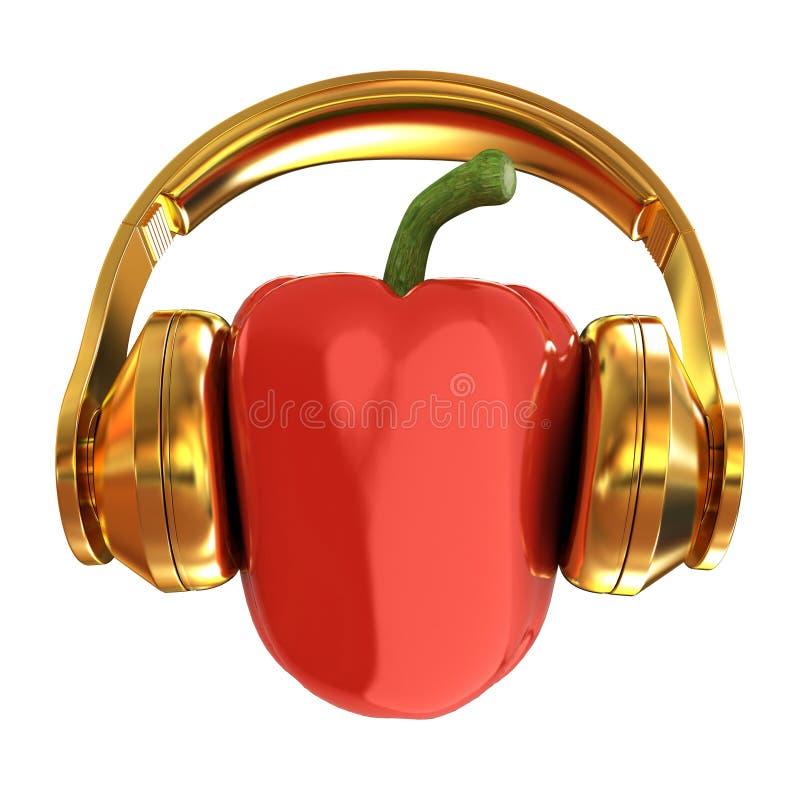 Groene paprika's met hoofdtelefoons op een witte achtergrond 3d illustrat royalty-vrije illustratie