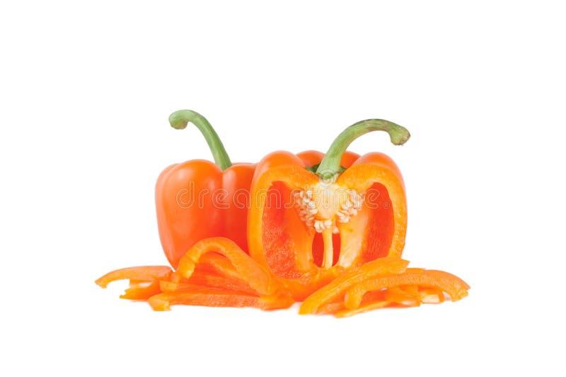 Groene paprika's met Plakken stock foto