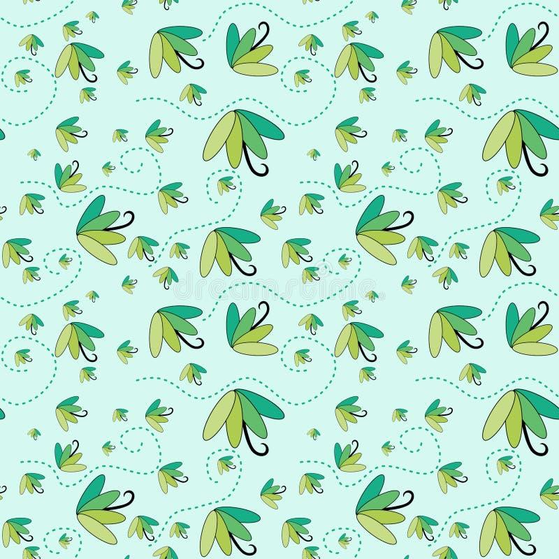 Groene paraplu's die naadloze achtergrond vliegen stock illustratie