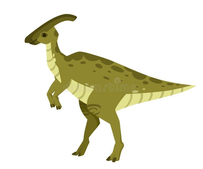 Groene parasaurolophus Leuke dinosaurus, beeldverhaalontwerp Vlakke die illustratie op witte achtergrond wordt ge?soleerd Dier va vector illustratie