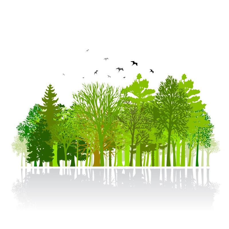 Groene park kleine houten illustratie stock illustratie