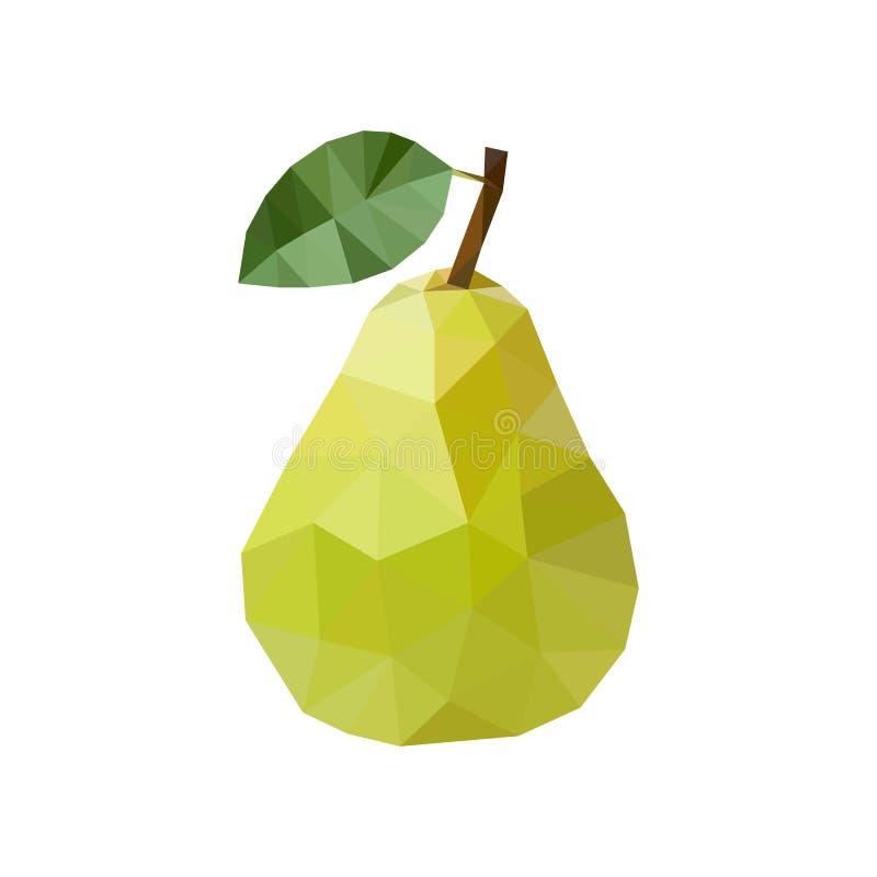 Groene peer in veelhoekige stijl Vector illustratie stock illustratie