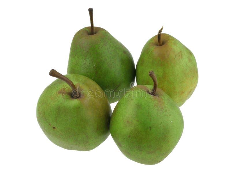 Groene peren op witte #2 stock afbeelding