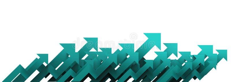 Groene pijl Groeiend bedrijfsconcept als achtergrond het 3d teruggeven stock fotografie