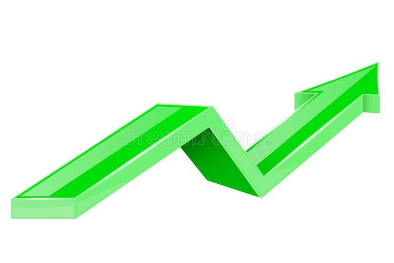 Groene pijl Op het kweken van 3d glanzend pictogram stock illustratie