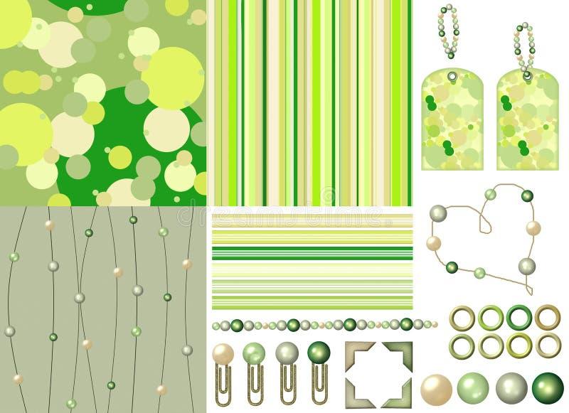 Groene plakboekuitrusting met parels royalty-vrije illustratie