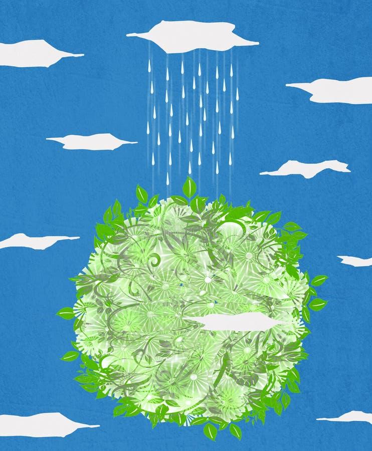 Groene planeet en regen stock illustratie