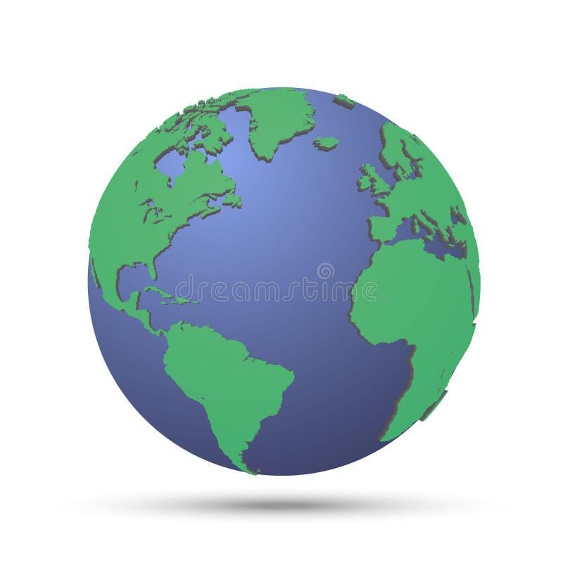 Groene planeet met continent vector illustratie