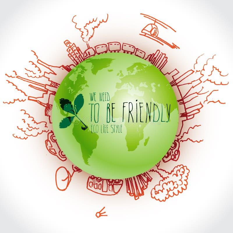 Groene planeet met de krabbels van de gevaarsecologie Geschetste ecoelementen met aarde en royalty-vrije illustratie
