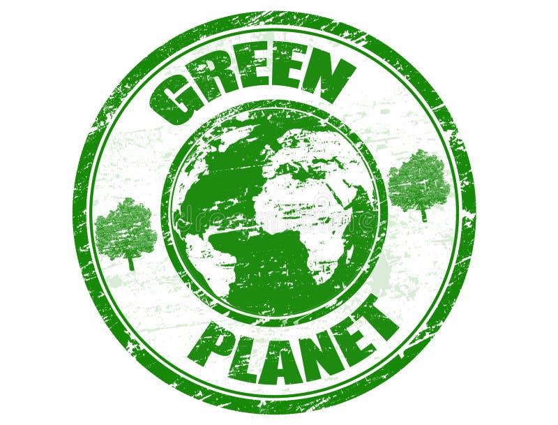 Groene planeetzegel royalty-vrije illustratie
