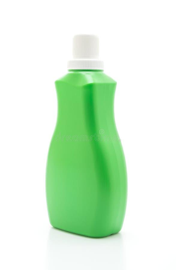 groene plastic fles voor detergens of vloer het vloeibare schoonmaken op witte achtergrond stock afbeeldingen