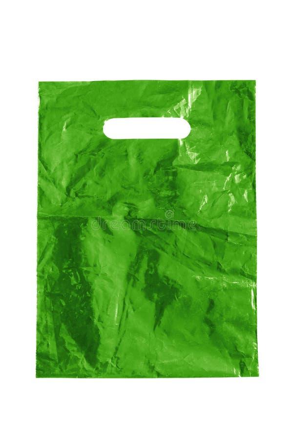 Groene plastic zak stock afbeelding