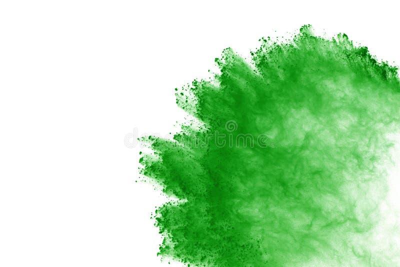 groene poederexplosie op witte achtergrond Gekleurde wolk het kleurenstof explodeert Verf Holi stock foto