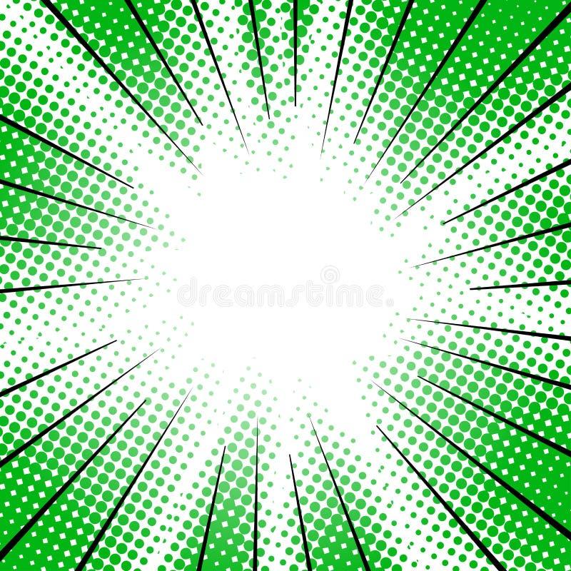 Groene radiale motielijnen halftone voor mangasuperhero royalty-vrije illustratie