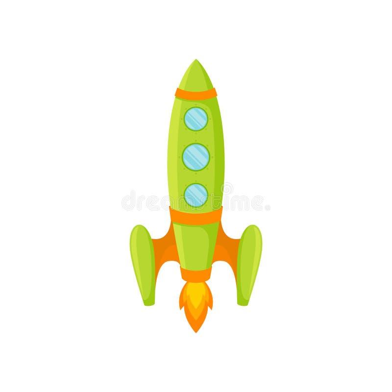 Groene raket met patrijspoorten en streep Vector illustratie op witte achtergrond stock illustratie