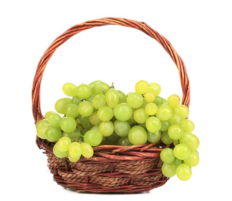 Groene rijpe druiven in mand. stock foto