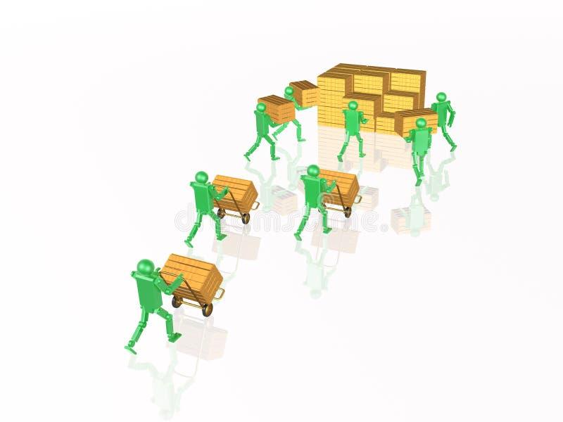 Groene robots met casegoods stock illustratie