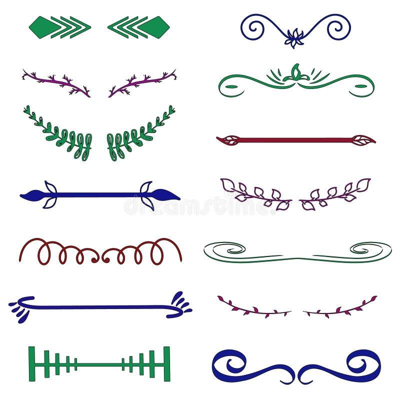 Groene Rode decoratieve monogrammen en kalligrafische grenzen Malplaatjesignage, embleem, etiket, sticker Het klassieke huwelijk  royalty-vrije illustratie