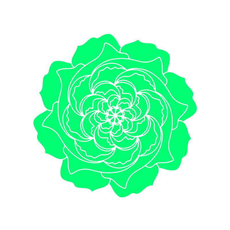 Groene Rose Flower Mandala Pattern Het vector organische embleem van het installatieconcept Skandinavisch decoratief het ontwerpe royalty-vrije illustratie