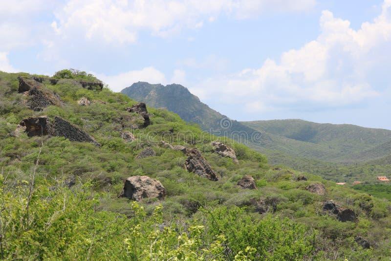 Groene, rotsachtige bergmening in Curacao royalty-vrije stock fotografie