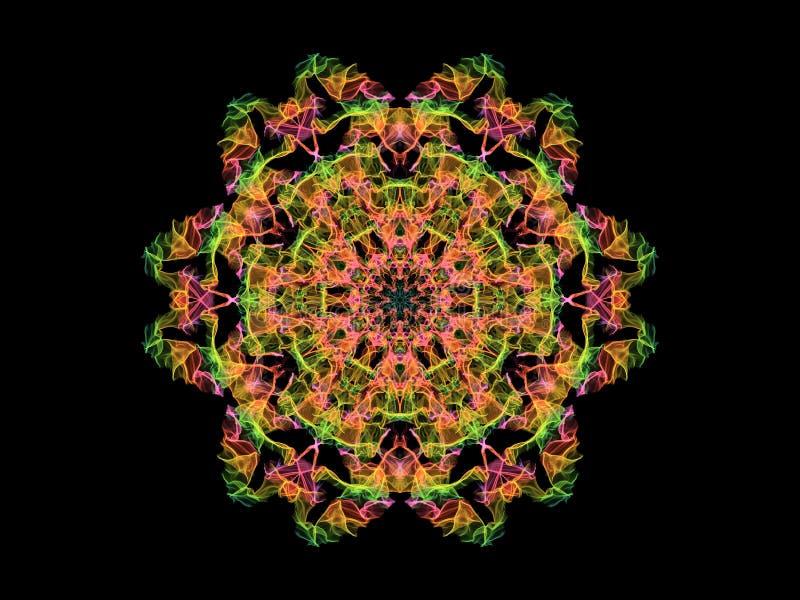 Groene, roze en gele mandalabloem van de neon abstracte vlam, sier bloemen rond patroon op zwarte achtergrond Yogathema stock illustratie