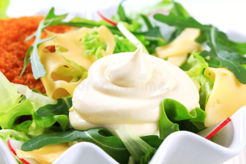 Groene salade met kaas royalty-vrije stock afbeelding