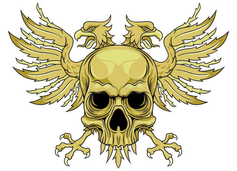Groene schedel met vleugels vector illustratie