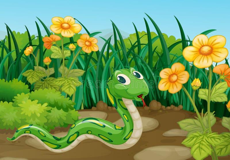 Groene slang in tuin royalty-vrije illustratie