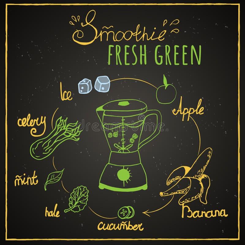 Groene Smoothie stock illustratie
