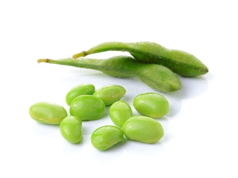 Groene sojabonen op witte achtergrond stock foto