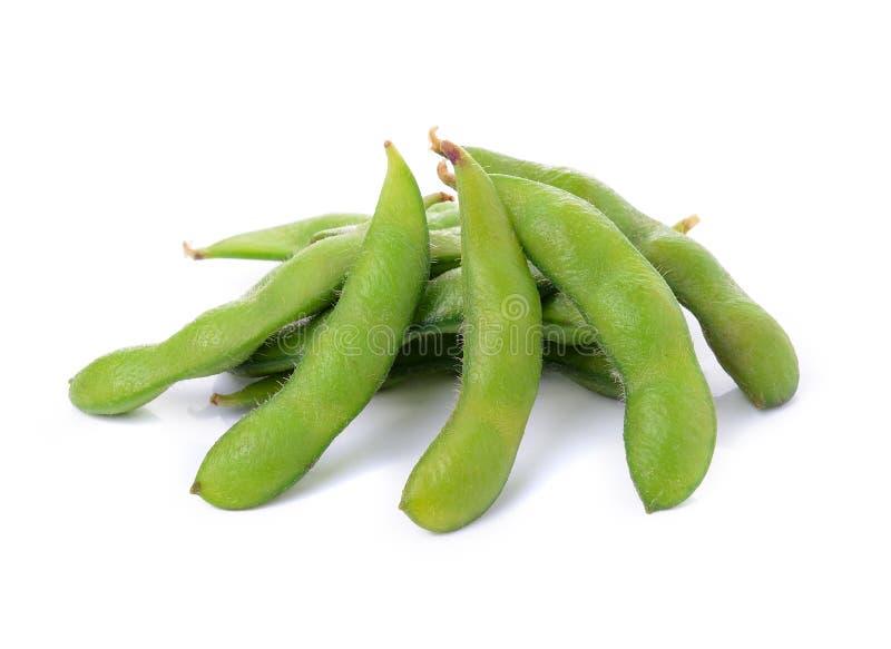 Groene sojabonen op witte achtergrond royalty-vrije stock foto's