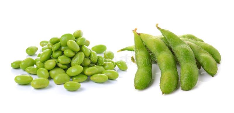 Groene sojabonen op witte achtergrond stock afbeeldingen