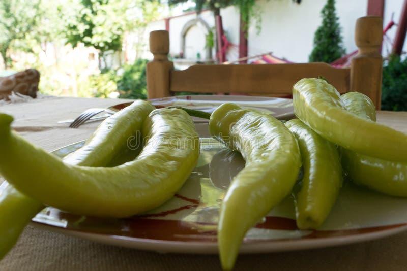 Groene Spaanse peperspeper op een tuinlijst Mediterraan voedsel in een plaat klaar te eten Ruwe organisch Huisstoel royalty-vrije stock afbeeldingen