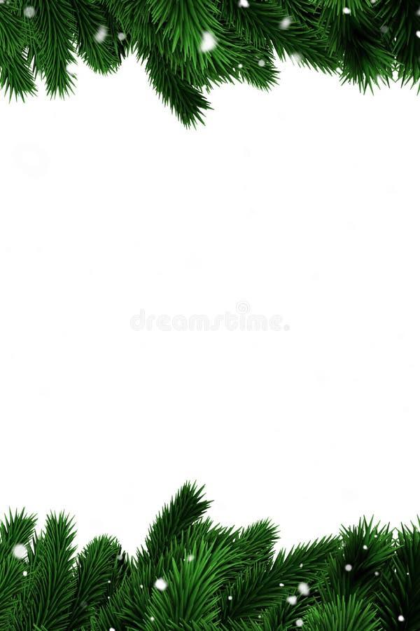 Groene sparrentakken met sneeuw royalty-vrije illustratie