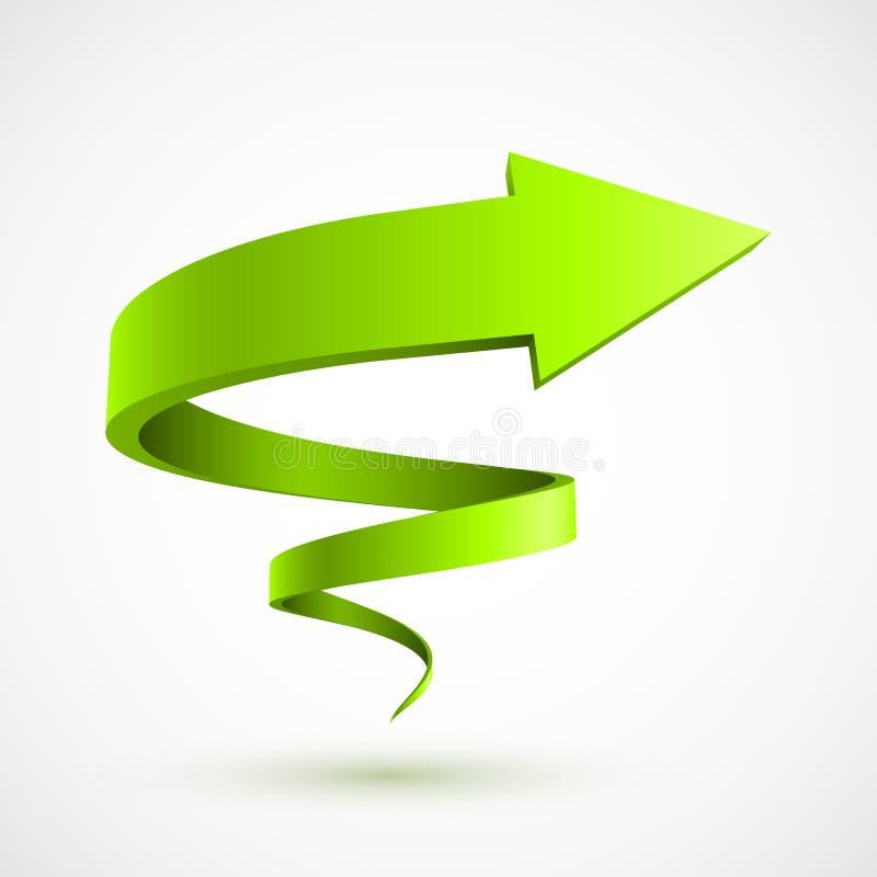 Groene spiraalvormige 3D pijl royalty-vrije illustratie