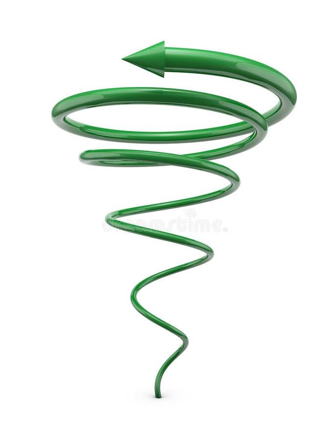 Groene spiraalvormige lijn met pijl royalty-vrije illustratie