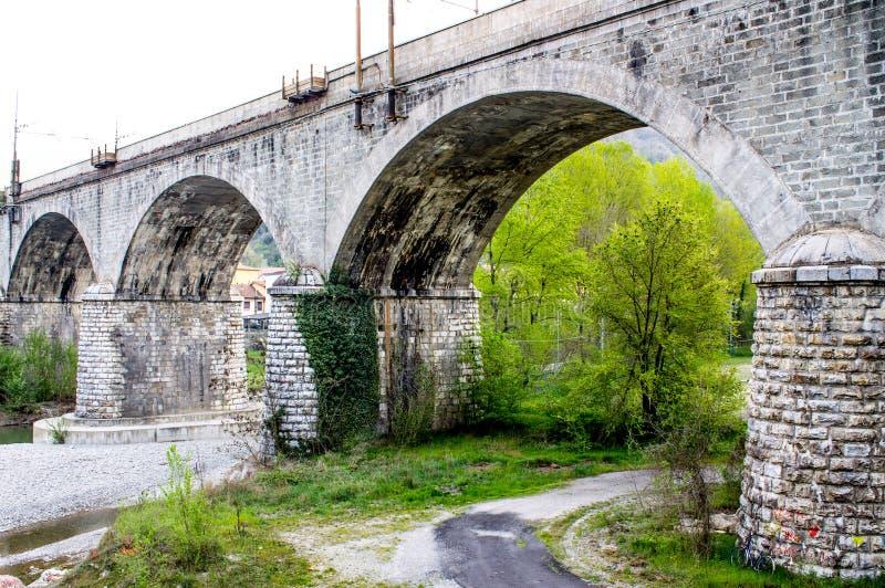 Groene spoorwegbrug royalty-vrije stock foto