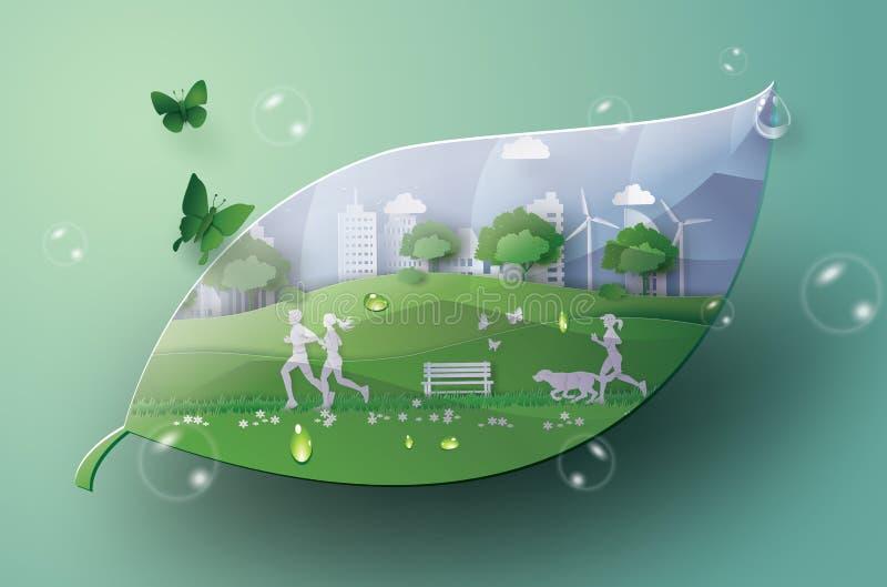 Groene stad in het blad stock illustratie