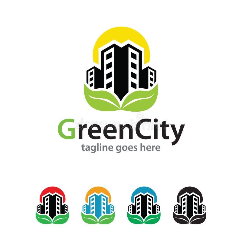 Groene Stad Logo Template Design Vector stock illustratie