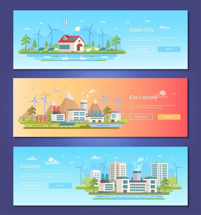 Groene stad - reeks moderne vlakke vectorillustraties van de ontwerpstijl royalty-vrije illustratie