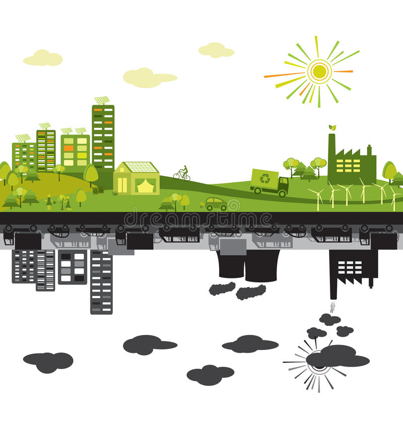 Groene stad versus verontreinigd vector illustratie